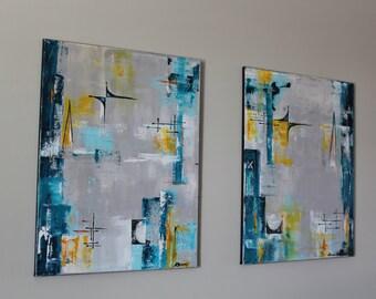 mid-century art twin set