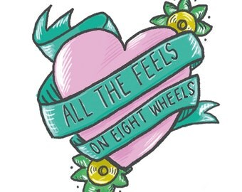 All the feels on eight wheels Sticker