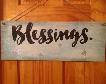 Hand Painted Wooden Sign- Blessings