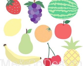 Fruit Clipart, Clip art for scrapbooking, party invitations, Instant Download, Personal and Commercial Use Clipart, Digital Clip Art