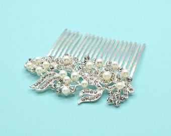 Silver Hair Comb Wedding Bridal Hair Silver Headpiece Rhinestone hair comb Accessories