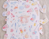 Summer Beauty Stickers - Paper Sticker Sheet, Watercolor Illustration of Makeup, Korean Beauty, Mini Portrait, Ice Cream
