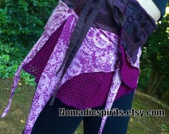 OSFM - brown adjustable wrap pixie skirt- burning man psytrance gypsy
