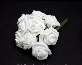 White Foam Roses Bulk Real Touch Flowers Silk