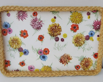 Vintage Wicker Edged Serving Tray Fab Floral Design 1960s Flowers Kitchen Dining Fab