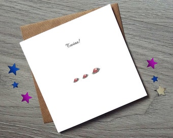 Twins Card - Baby Twins - Cards for twin baby - Twins Gift - Twin Cards - Ladybug Card - Ladybirds - Ladybug - Baby Card - Baby Gift