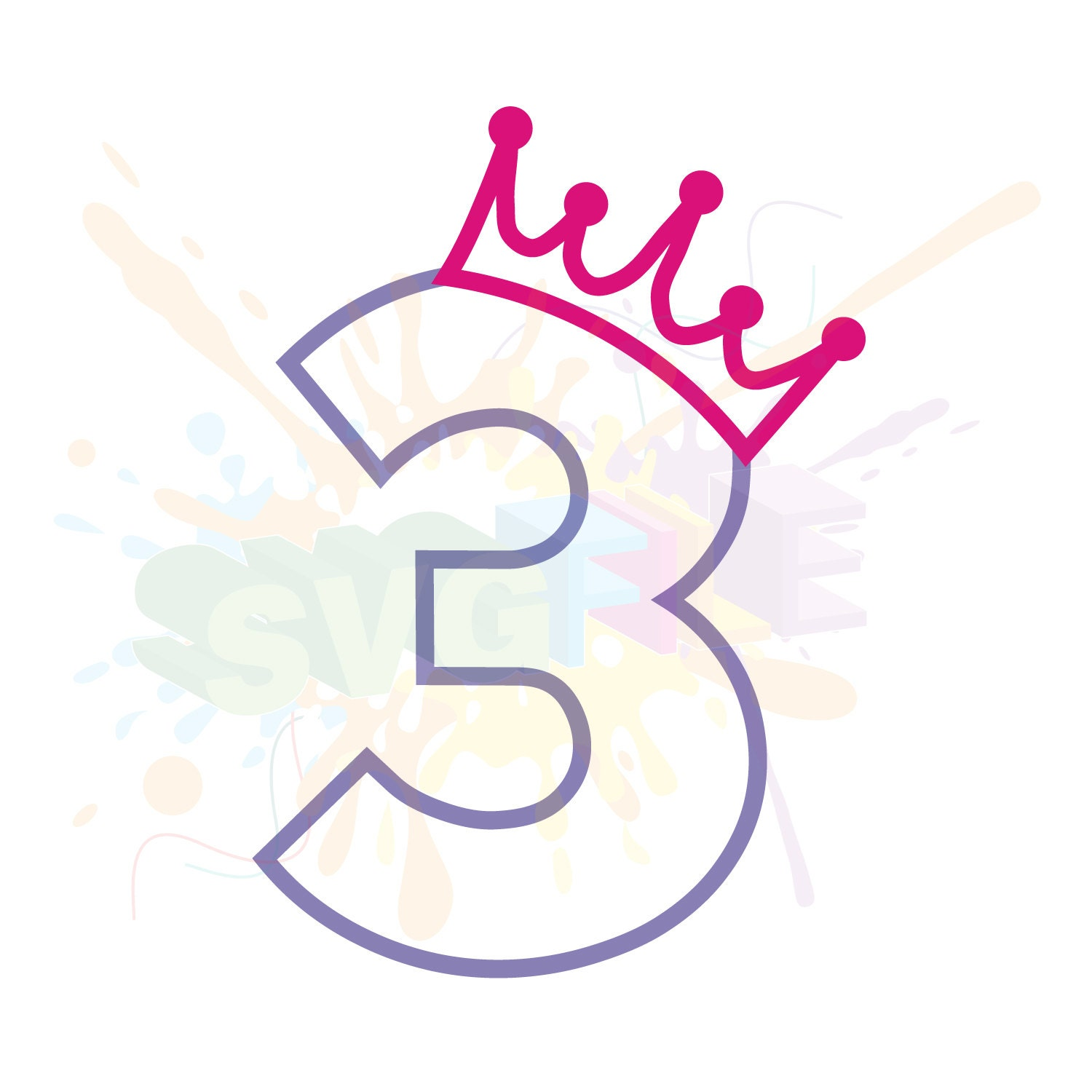 3rd Birthday SVG Files For Cutting Three Cricut Girl Numbers