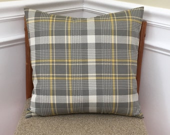 """Pillow Cover, Throw Pillow Cover, yellow and gray Plaid Accent Pillow Cover, 18"""" x 18"""" Pillow Cover with Envelope Opening"""