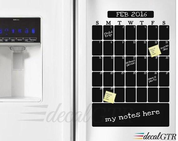 Weekly Refrigerator Calendar : Fridge calendar decal chalkboard