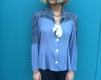 Vintage 80s Lace Bow Blouse Cute Size XS