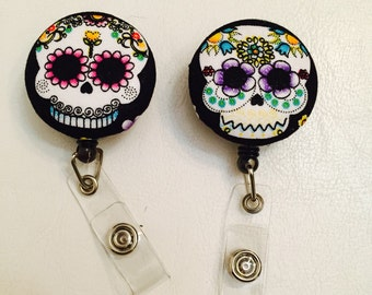 Sugar Skull Reel Id Badge Holder, for work or school, key holder, lanyard