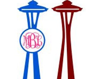 Seattle Space Needle Monogram; SVG, Studio 3, DXF, AI. Ps, and Pdf Cutting Files for Electronic Cutting Machines