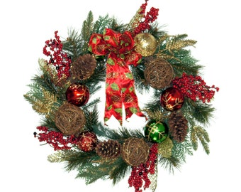 Christmas Front Door Wreath Evergreen with Red Bow Ornaments Grapevine Balls Berries - 23 inch - WR005
