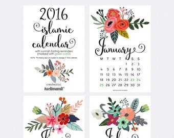 ISLAMIC CALENDAR 2016 by Kecilmamil (A5 Size - PRINTABLE - Instant Download)