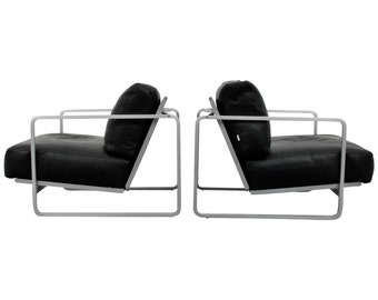 Pair of Zanotta Leather Lounge Chairs