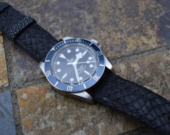 Black Salmon Leather Exotic Watch Strap