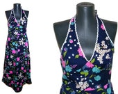 Hippie blue sundress floral print dress multicolored summer dress maxi halfer top dress vintage sundress Woodstock size M Beach dress gypsy