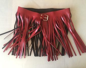 Red leather fringe skirt