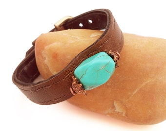 Turquoise leather bracelet Brown leather bracelet with turquoise gemstone Upcycled brown leather cuff
