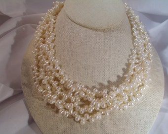 stunning vintage freshwater pearl multi strand necklace 18 inches