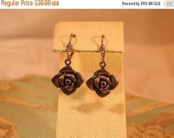 VALENTINES SALE stunning vintage sterling silver rose earrings