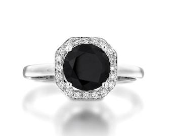 Black Onyx Diamond Halo Ring. Onyx Engagement Ring. Black Engagement Ring. Anniversaey Gift. Black Ring. 14K/18K White Solid Gold