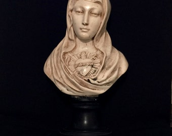 antique french coeur de marie bust immaculate heart of marie statue