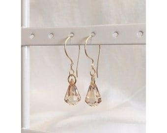 Swarovski Crystal golden shadow drop dangle earrings