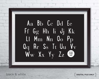Personalised Alphabet Chart Childrens Room Wall Art Print - Back To School Wall Art - Alphabet Print Poster - Kids Room Gift Idea - Alphabet