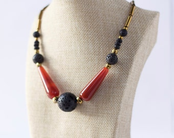 Statement necklace, carnelian, lavabeads, hematite, elegant necklace, unique necklace, gemstone necklace, gemstone jewelry,black and red