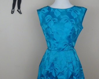 Vintage 1950's Bright Blue Cocktail Dress / 50s Embossed Hibiscus Print XS