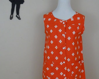 Vintage 1960's Shift Dress / 60s Orange and White Flower Dress M