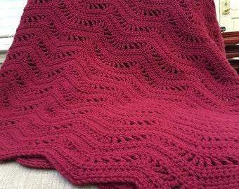 Burgundy Blanket, Burgundy Afghan, Burgundy Crochet Blanket, Crochet Blanket