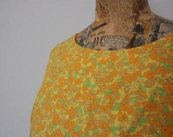 Vtg 60's Yellow Floral Cotton Dress