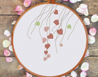 Young Leaf Vines cross stitch pattern| Modern tree counted chart| Instant download pdf| Nature spring summer hoop art diy house decor