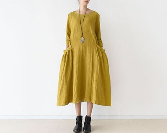 Womens Autumn Loose Fitting Elegance Cotton Linen Dress With Pockets, Womans Casual Dress, Long Dress, Autumn Dress, Dress For Lady