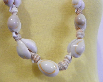 Vintage Cowrie sea shells long jumbo beaded necklace