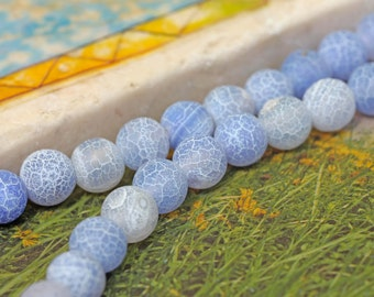Blue Desert Agate Gemstone Beads 6 and 8 mm / Pale Blue Agate Beads / Matte Agate Beads / Desert Agate Beads / Dragonsvein Agate Beads