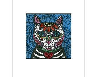 Cat 8 1/2 x 11 Art Print Mi Gato Day of the Dead Cat Dia de los Muertos Sugar Skull