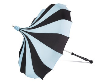 Bella Umbrella Pagoda Umbrella - Black & French Blue Waterproof Parasol