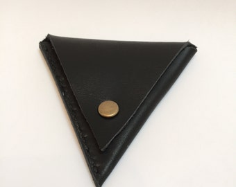Handmade black leather triangle coin pouch purse