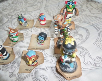 Kachina Dolls Hand made vintage hand painted Kachina Dolls. Collectible Dolls Authentic Kachina Dolls