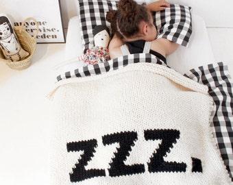 Baby Blanket ZZZ Crib Size Cot Blanket Hand Knit Baby Blanket New Baby Modern Nursery