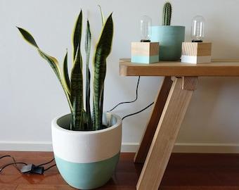 Tomas Lamp: Pine & White handmade table lamp. Desk lamp. Decorative lights. Bedside table lamp. Edison light bulb. Wooden cube lamp.
