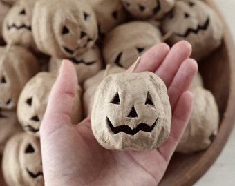 Paper Mache Jack-O'-Lanterns - 3 Rustic Halloween Craft Pumpkins