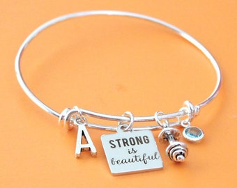 Personalized Fitness Bracelet Adjustable with your Initial & Birthstone