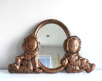 Vintage 70 ' s cuivre tonique Raggedy Ann et Andy ovale mur miroir Decor enfants chambre Nursery Room Decor - guilde Coppercraft - Dart Inc.