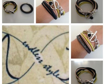 Wrap leather bracelet with auswechseln band