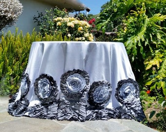 Rosette Tablecloth, Silver/Gray Two Tone Rose Tablecloth, Silver/Gray Two Tone Large Rosette Tablecloth, Rosette Tablecloth