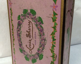 Vintage Louis Sherry Purple Metal Candy Tin with Hinged Lid